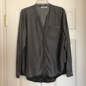 Cato gray blouse with black lace inset. XL